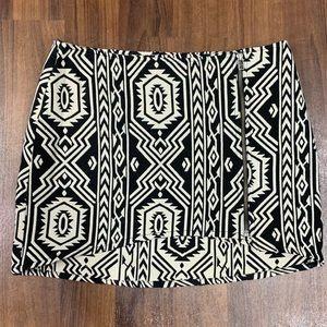 MINKPINK Black & White Aztec Print Wrap Mini Skirt